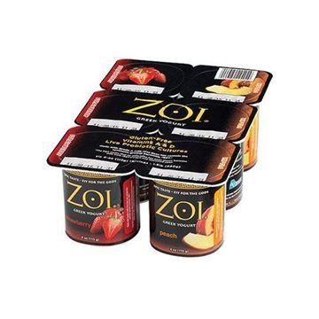 Zoi 4 oz Greek 6-pack Straw/Peach