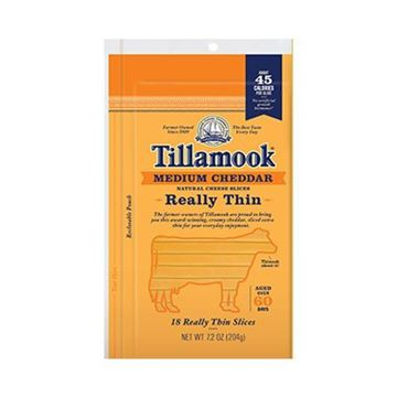 Tillamook Thin Sliced Medium Cheddar Cheese - 7.2 oz.