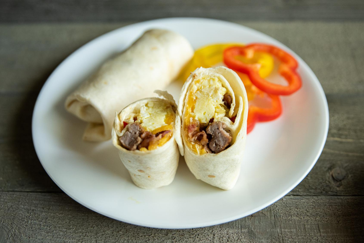 Breakfast Burrito stuffed with eggs, bacon, and sausage