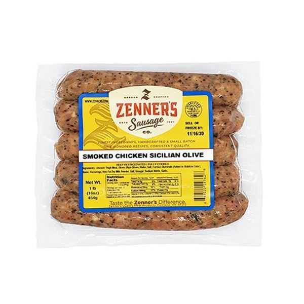 Zenner's Smoked Chicken Sicilian Olive Sausages - 1 lb.
