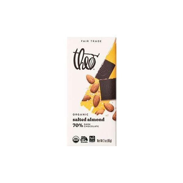 Theo Organic Salted Almond 70% Dark Chocolate Bar – 3 oz.