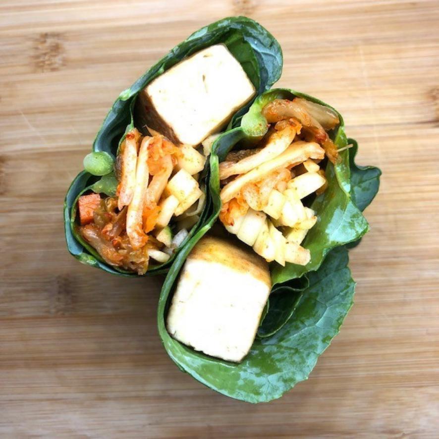 Collard Green Wraps with Tofu and Kimchi