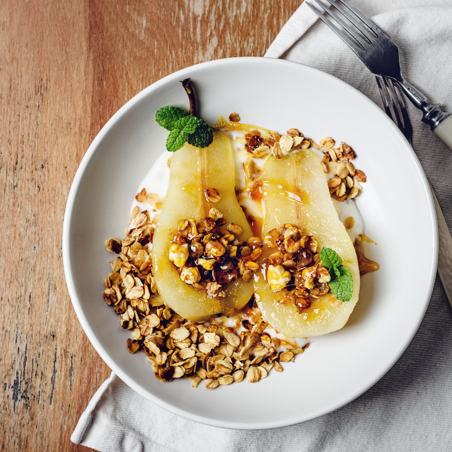 Poached Pears with Granola and Greek Yogurt
