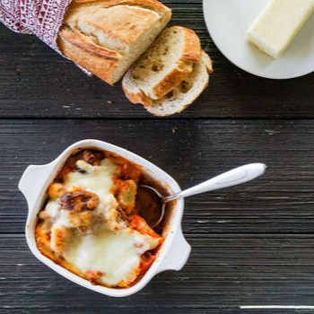 Baked gnocchi with Italian meatballs